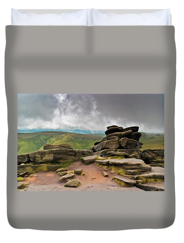 Landscape Duvet Cover featuring the photograph Pagoda #1, Kinder Scout, Peak District, North West England by Anthony Lawlor