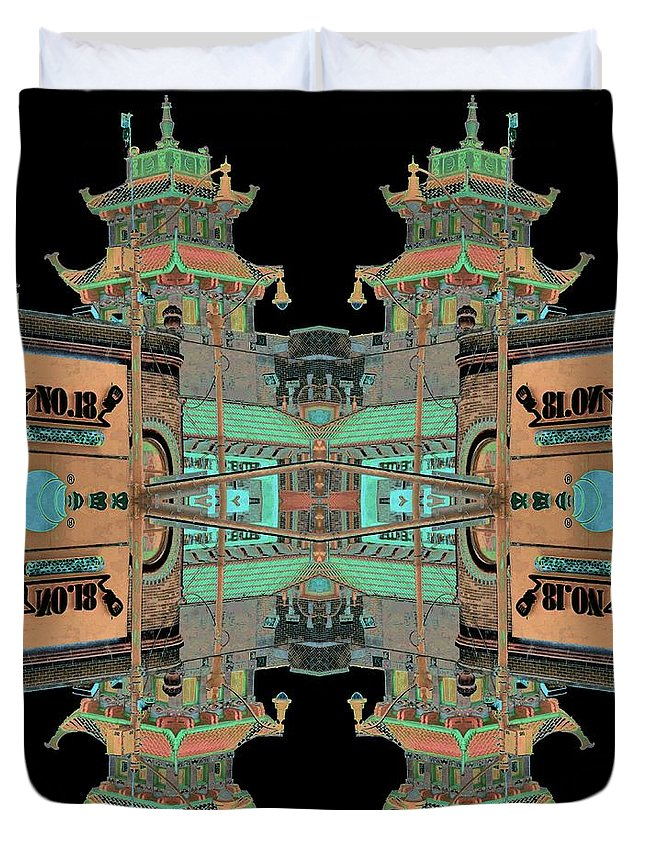 China Town Duvet Cover featuring the photograph Pagoda Tower Becomes Chinese Lantern 1 Chinatown Chicago by Marianne Dow