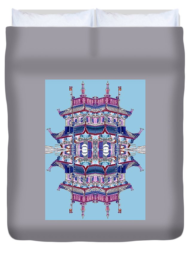 China Town Duvet Cover featuring the photograph Pagoda Tower Becomes Chinese Lantern 2 Chinatown Chicago by Marianne Dow