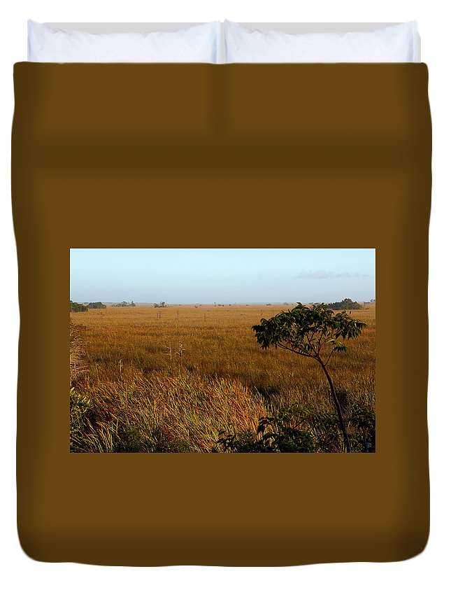 Everglades Duvet Cover featuring the painting Pahayokee by David Lee Thompson
