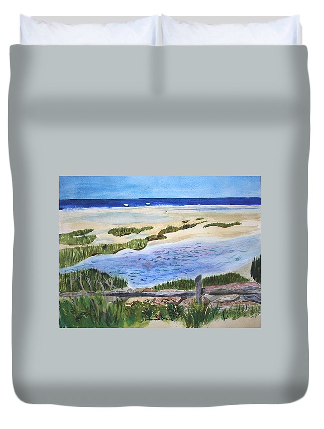 Paines Creek Duvet Cover featuring the painting Paines Creek by Donna Walsh