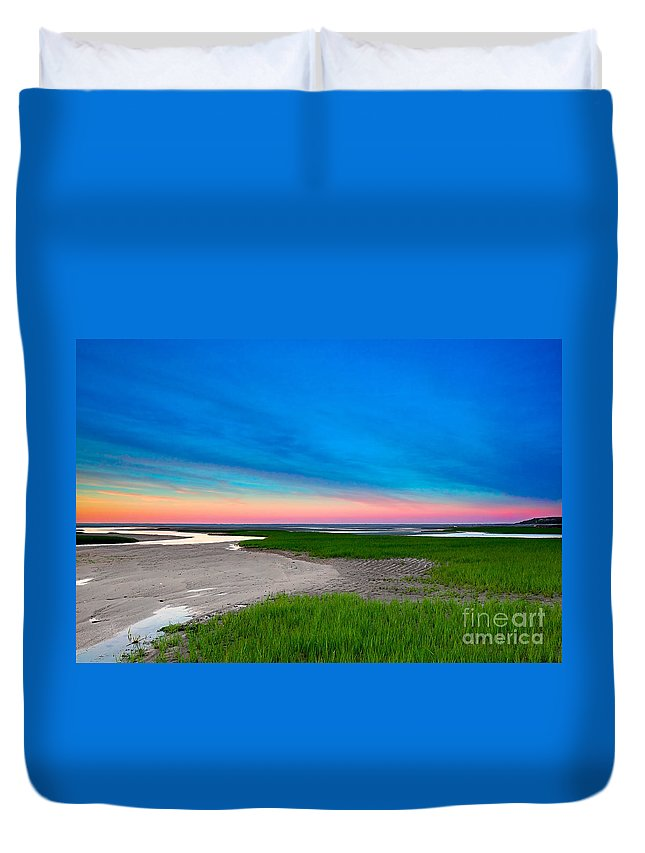 Sunset Duvet Cover featuring the photograph Paines Creek Sunset Cape Cod by Matt Suess