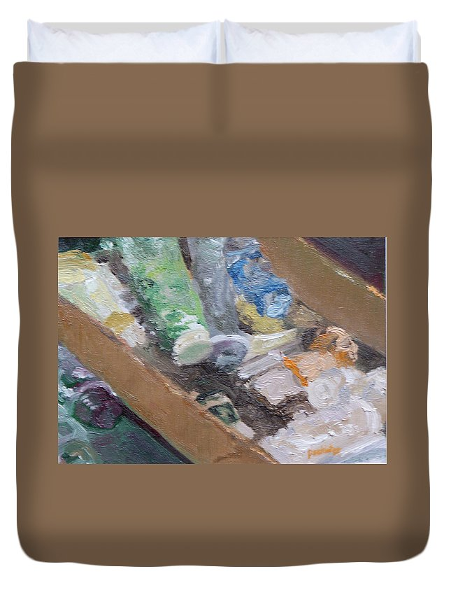 Paint Tubes Duvet Cover featuring the painting Paint Box by Alicia Drakiotes
