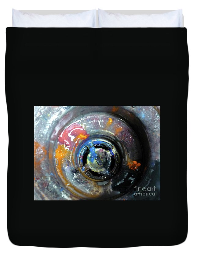 Unseen Duvet Cover featuring the photograph Paint In The Sink 3 by Donna Filomio