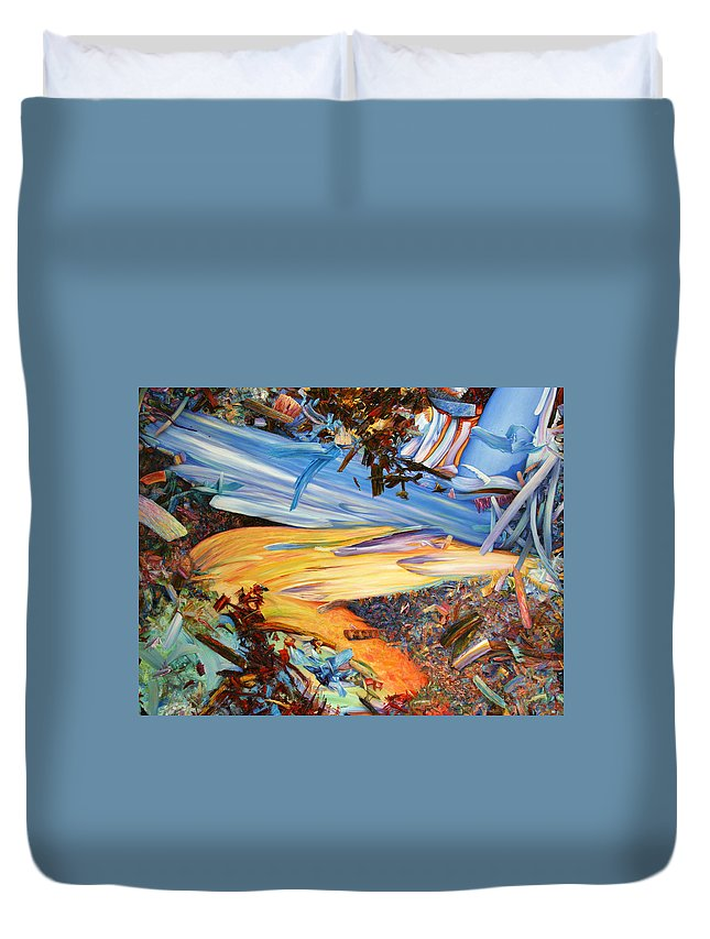 Abstract Duvet Cover featuring the painting Paint number 38 by James W Johnson