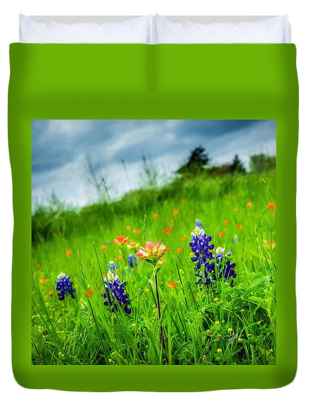 Indian Paintbrush Duvet Cover featuring the photograph Paintbrush And Bonnets Square by TK Goforth