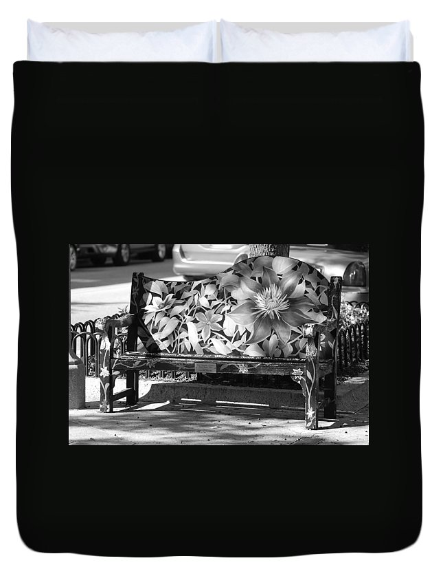 Pop Art Duvet Cover featuring the photograph Painted Bench by Rob Hans