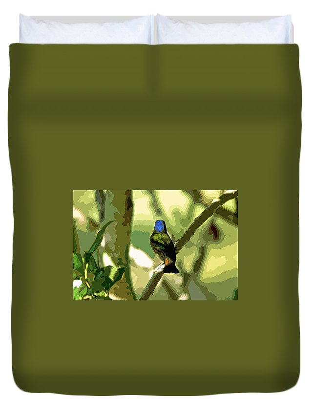 Animals Duvet Cover featuring the digital art Painted Bunting Cutout by Dale Chapel