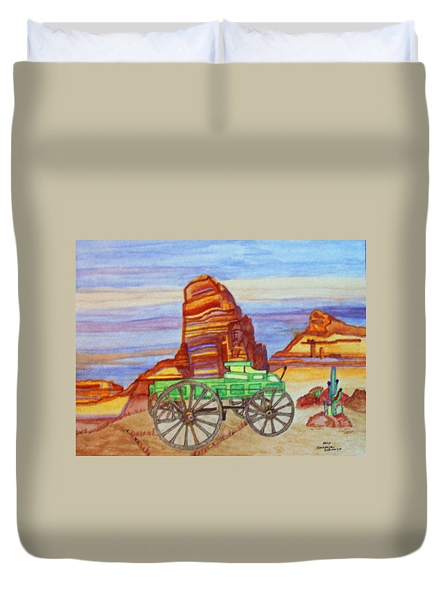 Painted Desert Duvet Cover featuring the painting Painted Desert by Connie Valasco