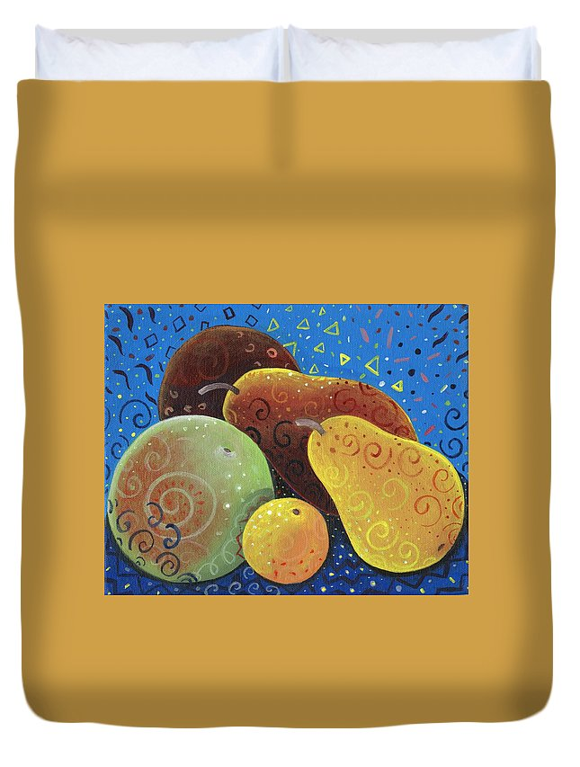 Fruit Duvet Cover featuring the painting Painted Fruit by Helena Tiainen