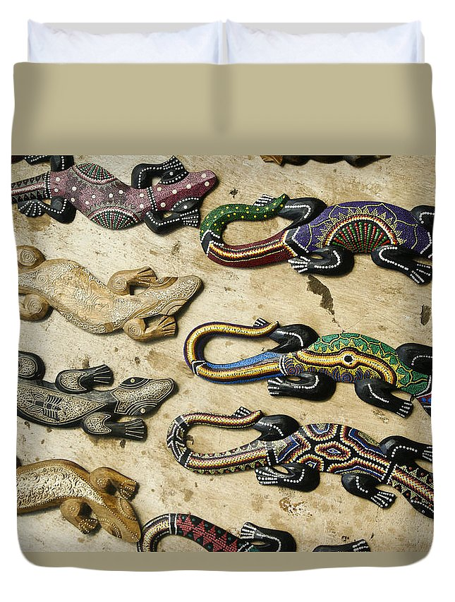 Asia Duvet Cover featuring the photograph Painted Geckos by Michele Burgess
