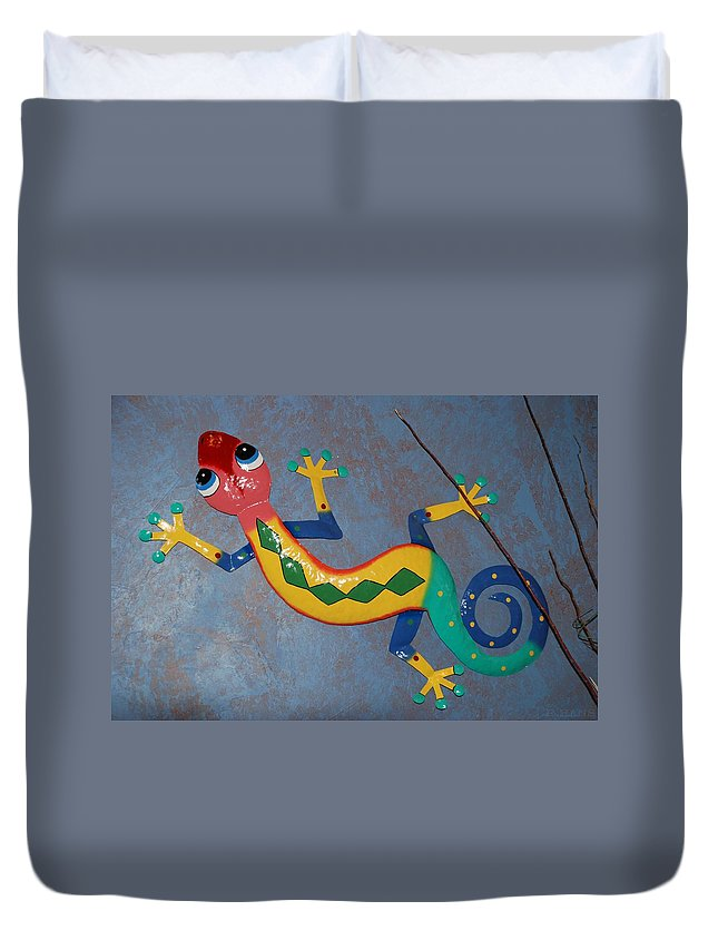 Pop Art Duvet Cover featuring the photograph Painted Lizard by Rob Hans