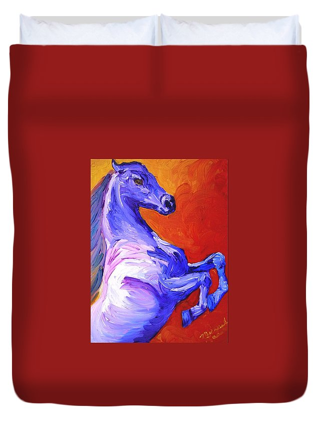 Horses Duvet Cover featuring the painting Painted Mustang by Michael Lee