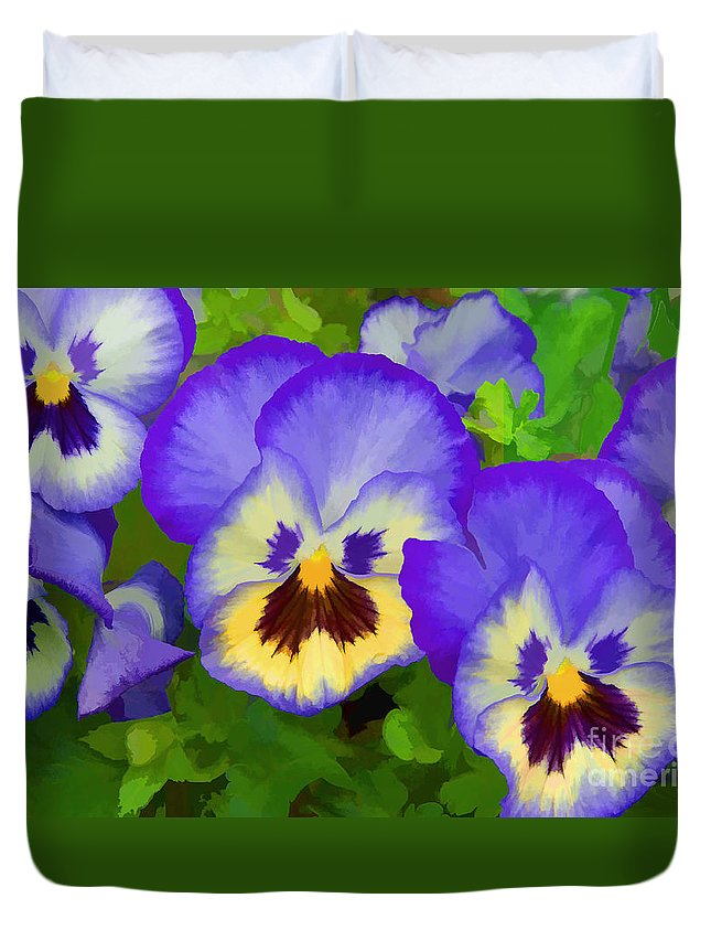 Pansies Duvet Cover featuring the photograph Painterly Pansies by Regina Geoghan