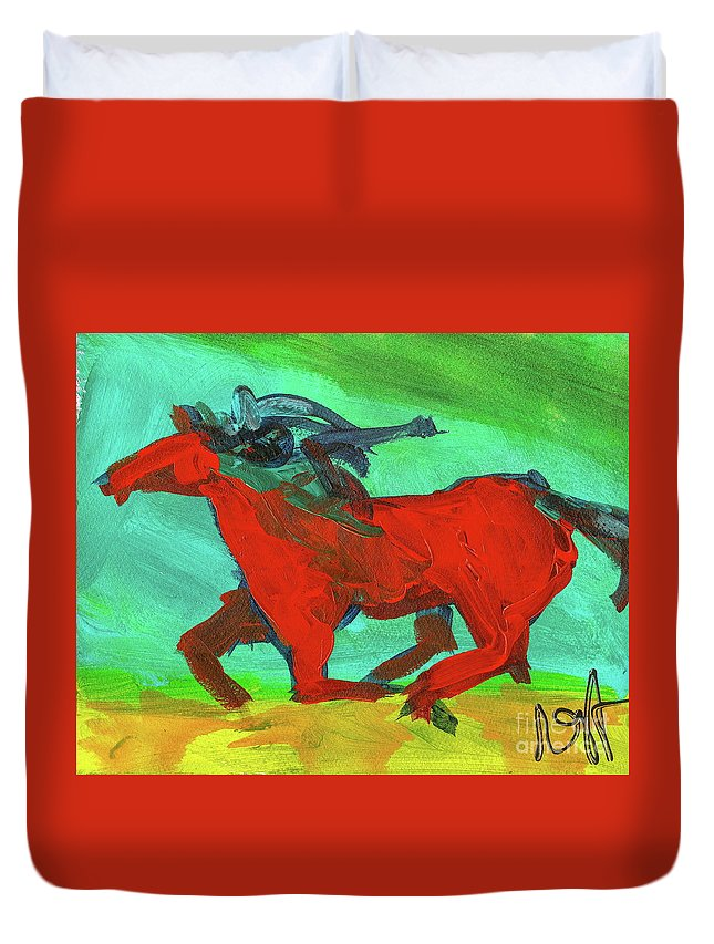 Horse Duvet Cover featuring the painting Painted Ponies - Spirit Rider by Roxanne Fawcett