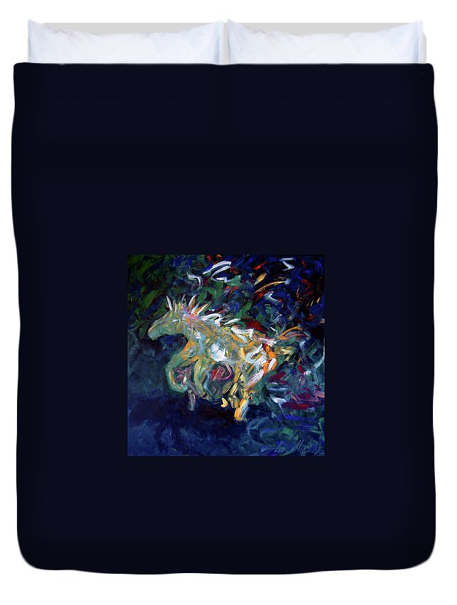 Abstract Horse Duvet Cover featuring the painting Painted Pony by Lance Headlee