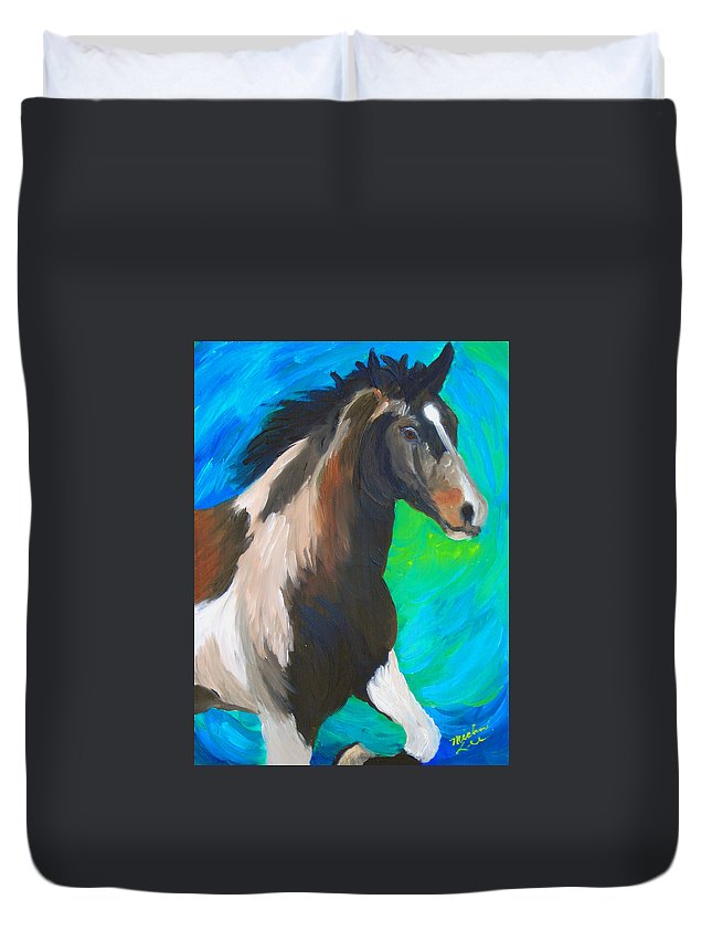 Horses Duvet Cover featuring the painting Painted Pony by Michael Lee
