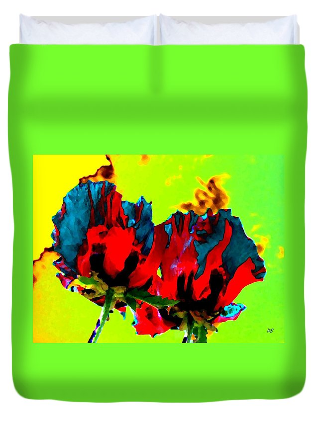 Poppies Duvet Cover featuring the digital art Painted Poppies by Will Borden