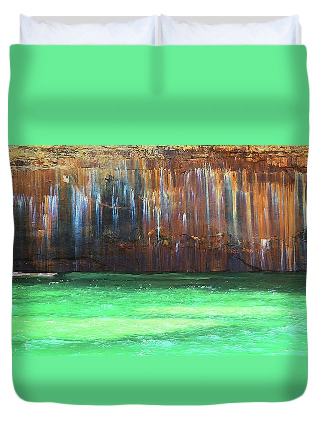 Painted Rocks Duvet Cover featuring the photograph Painted Rocks by Daniel Frei