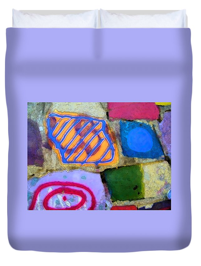 Abstract Duvet Cover featuring the digital art Painted Rocks by Lenore Senior