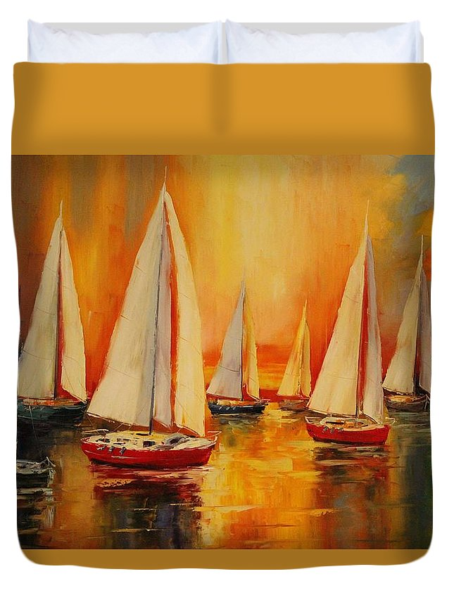 Sailboats Duvet Cover featuring the photograph Painted Sails by Natalie Ortiz