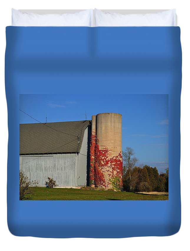 Fall Duvet Cover featuring the photograph Painted Silo by Tim Nyberg