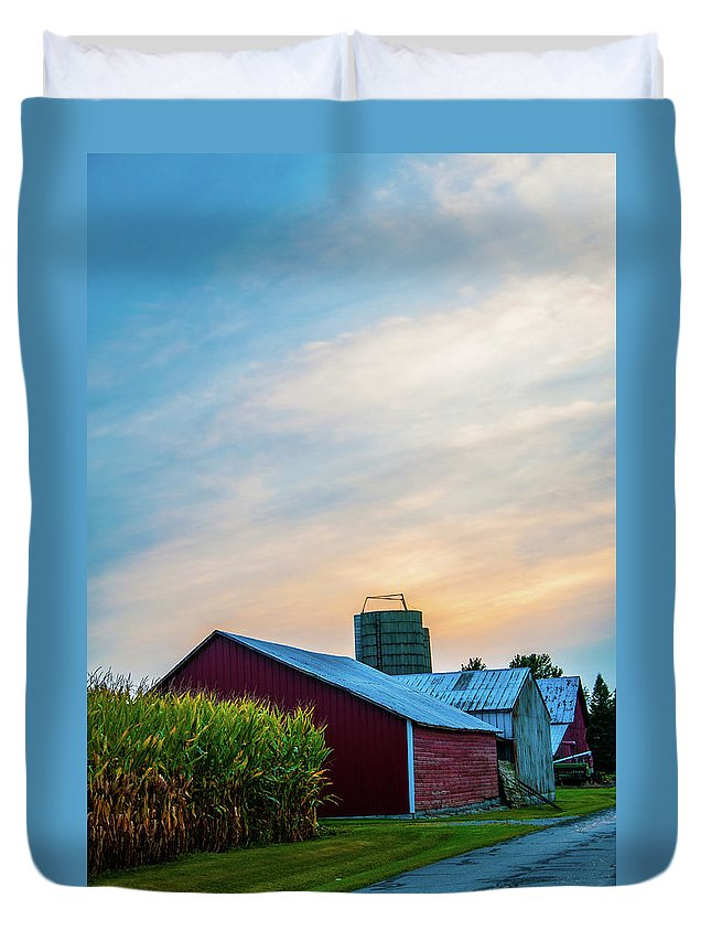 Barn Duvet Cover featuring the photograph Painted Sky by Angela Mocniak