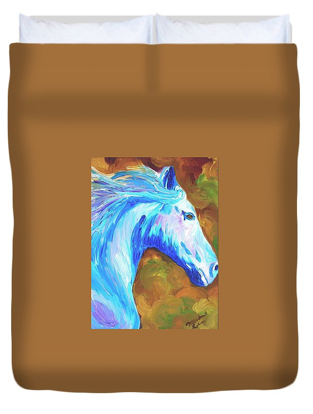 Horses Duvet Cover featuring the painting Painted Stallion by Michael Lee