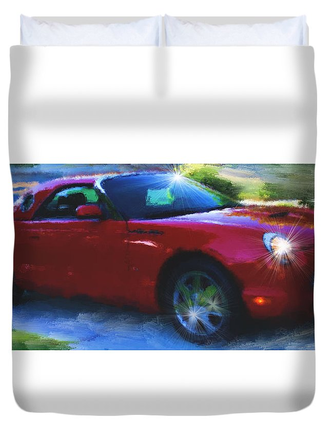 Ford Duvet Cover featuring the photograph Painted T-bird by Tony Noto