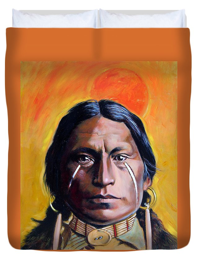 American Indian Duvet Cover featuring the painting Painted Tears by John Lautermilch