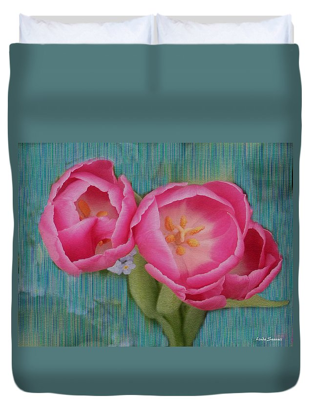 Flowers Duvet Cover featuring the photograph Painted Tulips by Linda Sannuti