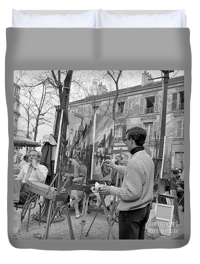 Montmartre Duvet Cover featuring the photograph Painters In Montmartre, Paris, 1977 by French School