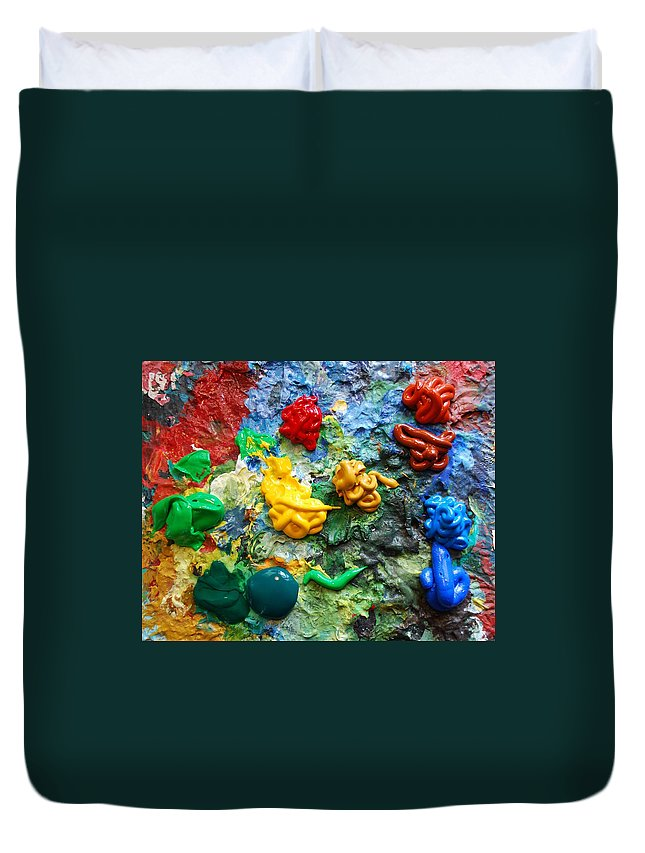 Palette Duvet Cover featuring the photograph Painters Palette by Nancy Mueller