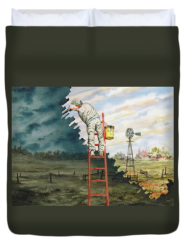 Landscape Duvet Cover featuring the painting Paintin Up A Storm by Sam Sidders