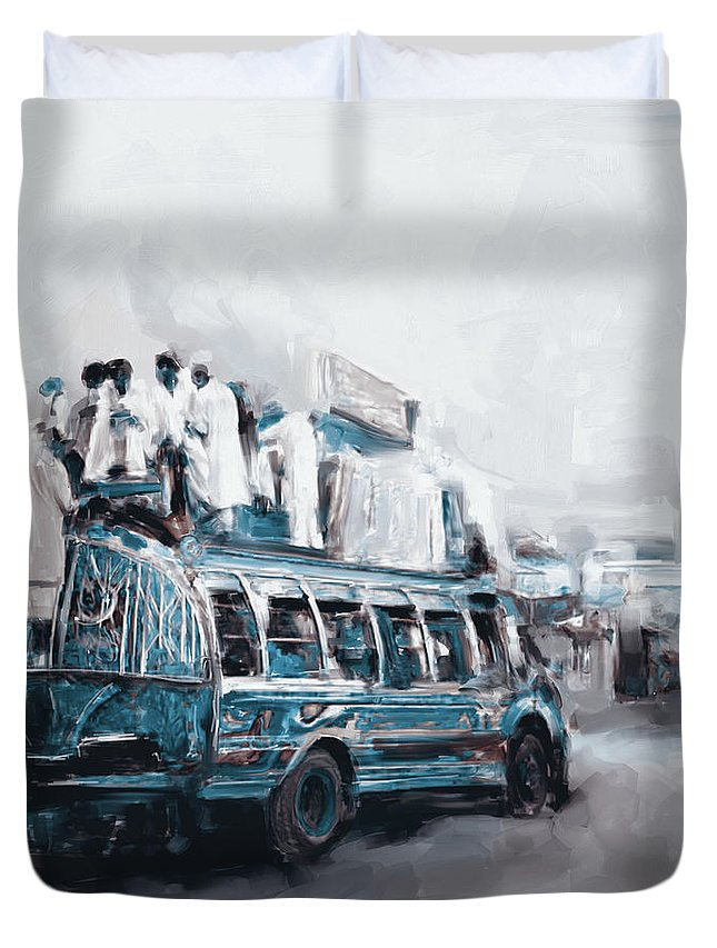 Truck Duvet Cover featuring the painting Painting 782 3 Kpk by Mawra Tahreem