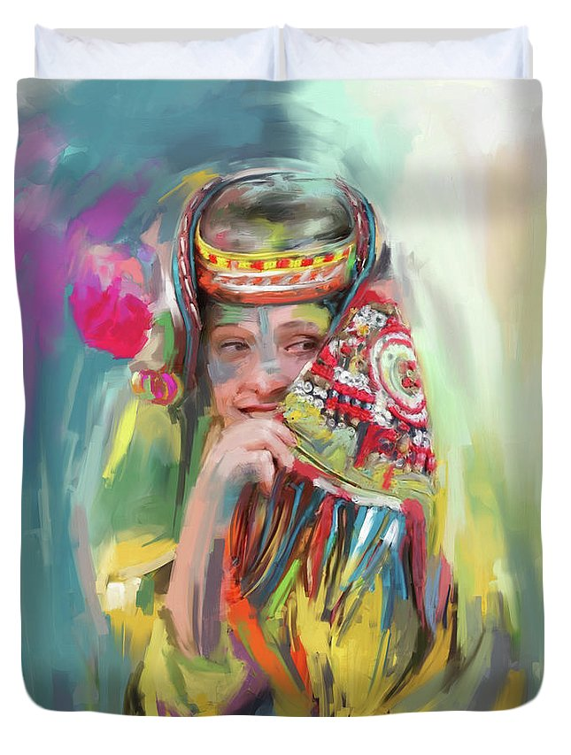 Kailash Duvet Cover featuring the painting Painting 786 1 Kailash Girl by Mawra Tahreem