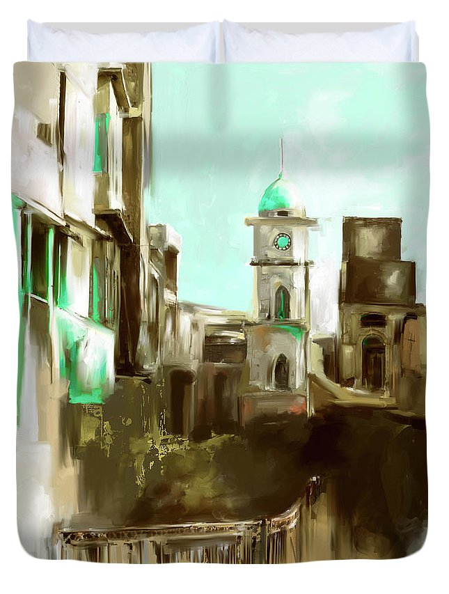 Peshawar Duvet Cover featuring the painting Painting 790 3 Cunningham Clock Tower by Mawra Tahreem