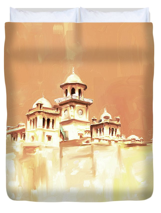 Islamia College Duvet Cover featuring the painting Painting 795 2 Islamia College Peshawar by Mawra Tahreem