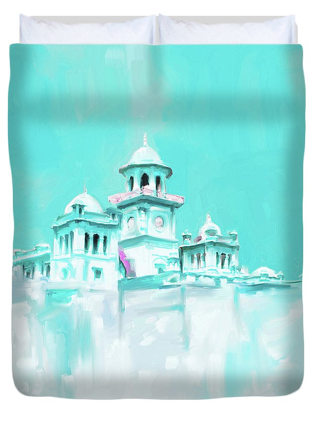 Islamia College Duvet Cover featuring the painting Painting 795 3 Islamic College Peshawar by Mawra Tahreem