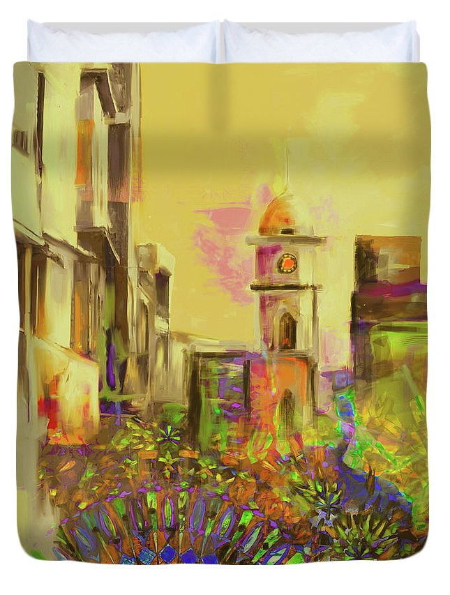 Cunningham Duvet Cover featuring the painting Painting 796 3 Cunningham Clock Tower by Mawra Tahreem