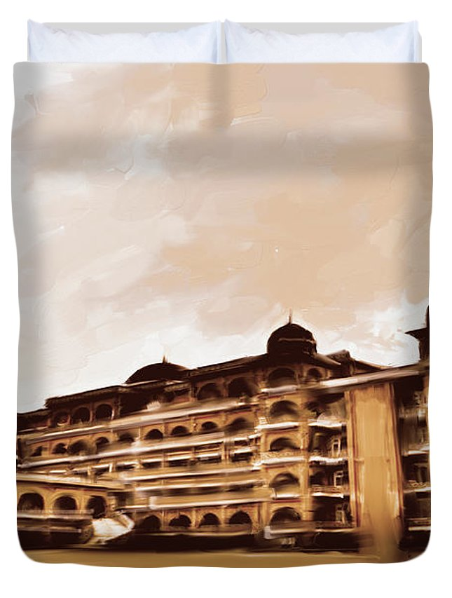 University Duvet Cover featuring the painting Painting 797 3 Peshawar University by Mawra Tahreem