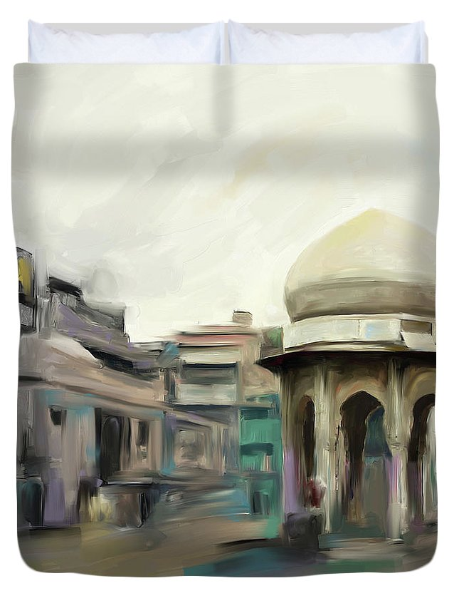 Chowk Yaadgar Duvet Cover featuring the painting Painting 798 1 Chowk Yadgaar by Mawra Tahreem