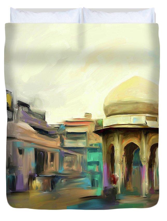 Peshawar Duvet Cover featuring the painting Painting 798 3 Chowk Yaadgar by Mawra Tahreem