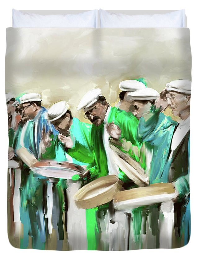 Hunza Duvet Cover featuring the painting Painting 800 2 Hunzai Musicians by Mawra Tahreem