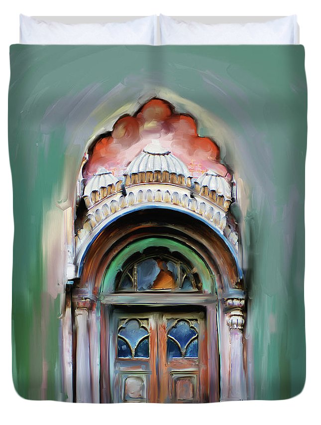 Sethi Duvet Cover featuring the painting Painting 802 1 Sethi Street Door by Mawra Tahreem