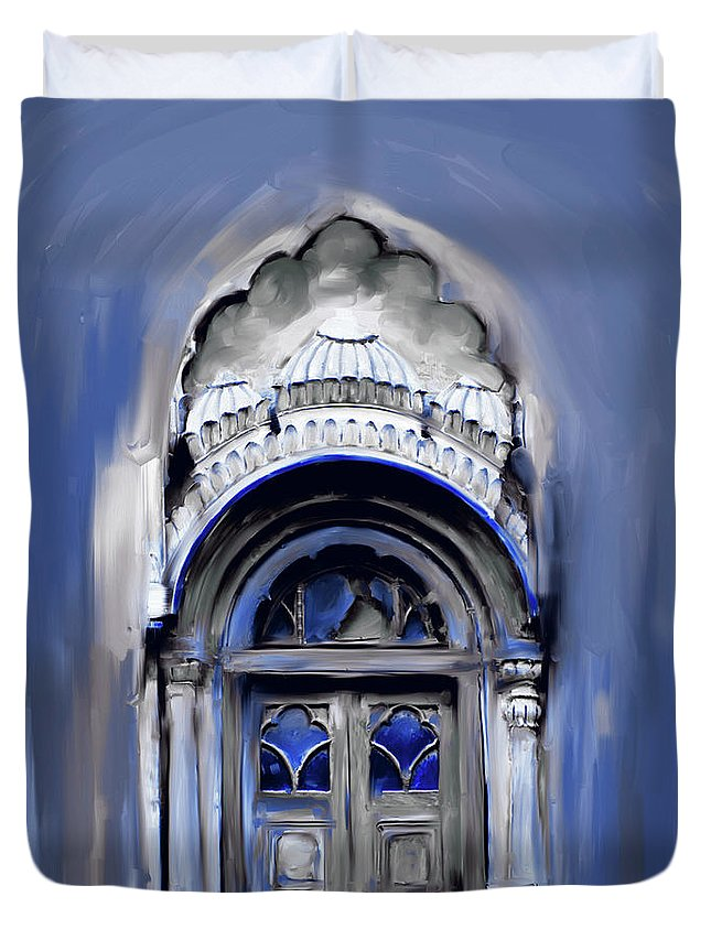 Sethi Duvet Cover featuring the painting Painting 802 3 Sethi Street Door by Mawra Tahreem