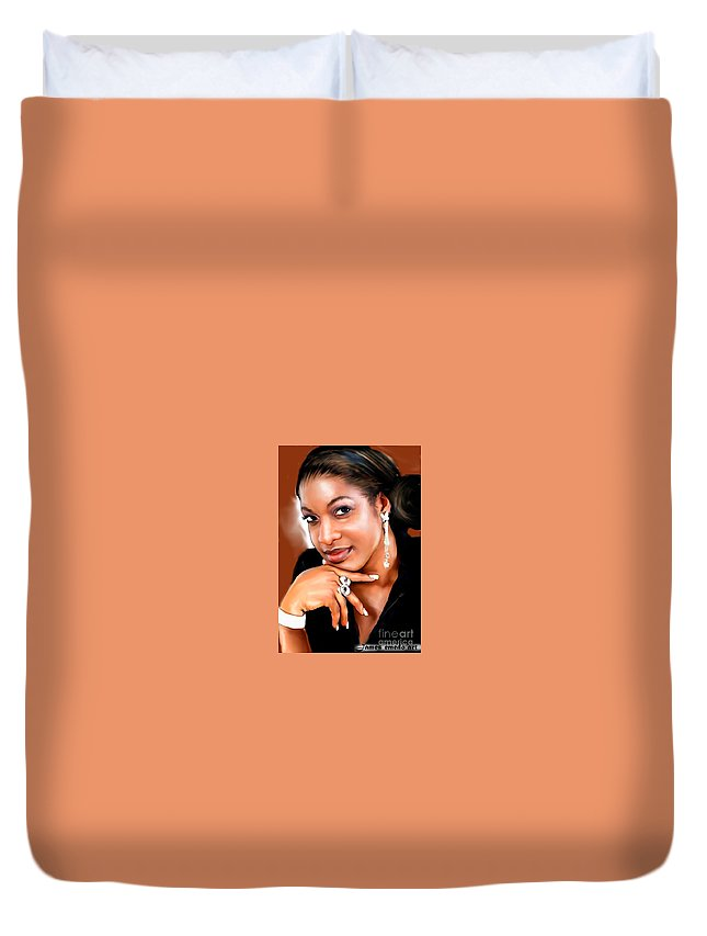 Portrait Painting Of Nigerian Famous Actress Chika Ike Duvet Cover featuring the drawing painting of chika Ike by James Emedo Art