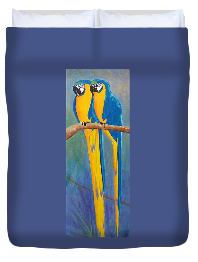 Macaw Duvet Cover featuring the painting Pair Of Blue And Gold Macaws by Anne Marie Brown