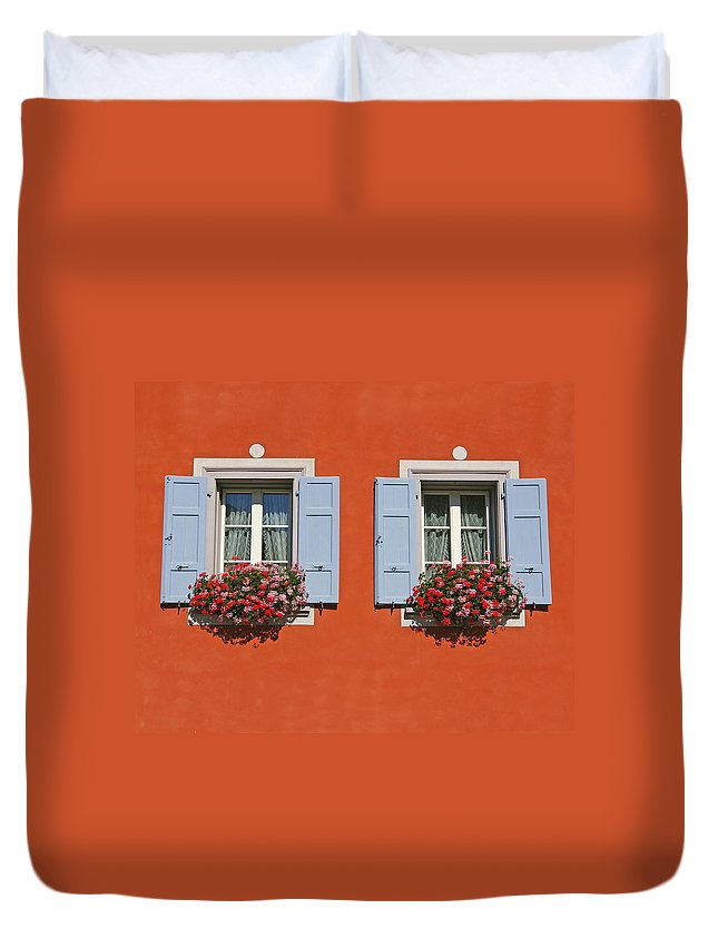 Red Duvet Cover featuring the photograph Pair Of Blue Shutters by Tom Reynen