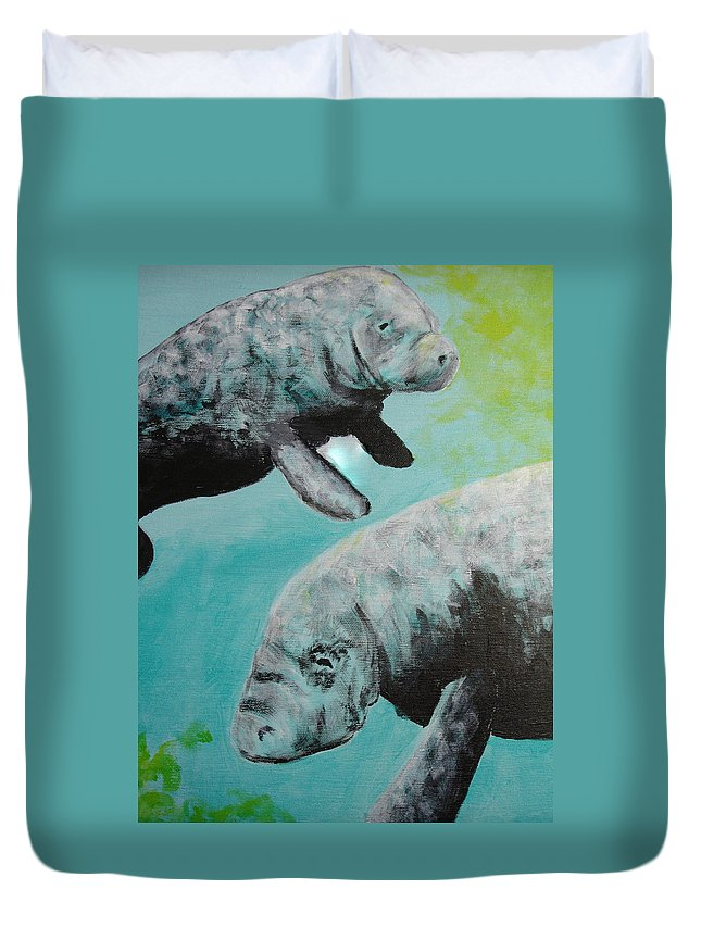 Florida Duvet Cover featuring the painting Pair Of Florida Manatees by Susan Kubes
